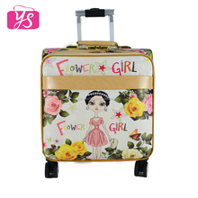 Low MOQ Stylish printing PU leather travel luggage set with trolley wheels