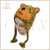 Animal cat with ear jacquard hand knitting acrylic classic lady fashion winter knitted hat beanie with earflap, fuzz ball
