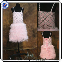 FF0008 real sample feather skrt pink flower girl dresses for 7 year olds