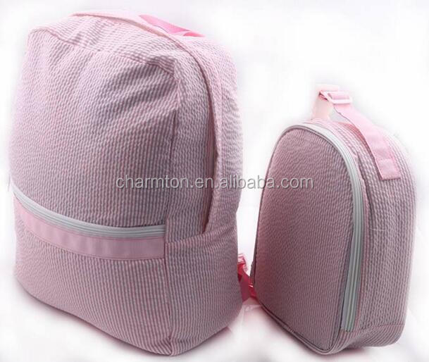 Wholesale Personalized Seersucker School Bag