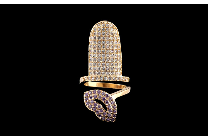Micro Pave 14k gold plated copper lip finger nail Ring