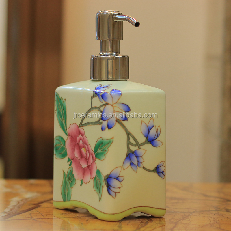 Ceramic Soap Dispenser Hand Paint Floral Animal Custom Square 500ML Empty Pump Bottle Bathroom Accessory Home Hotel Decor