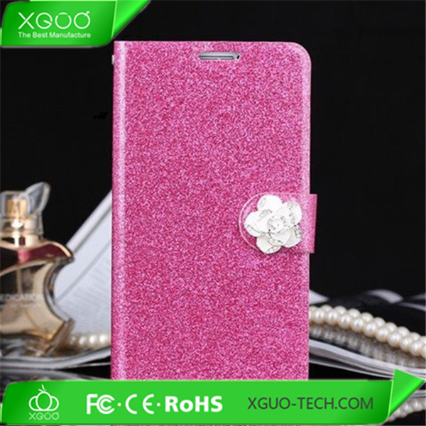 folio leather bling diamond romantic case for cover iphone 5