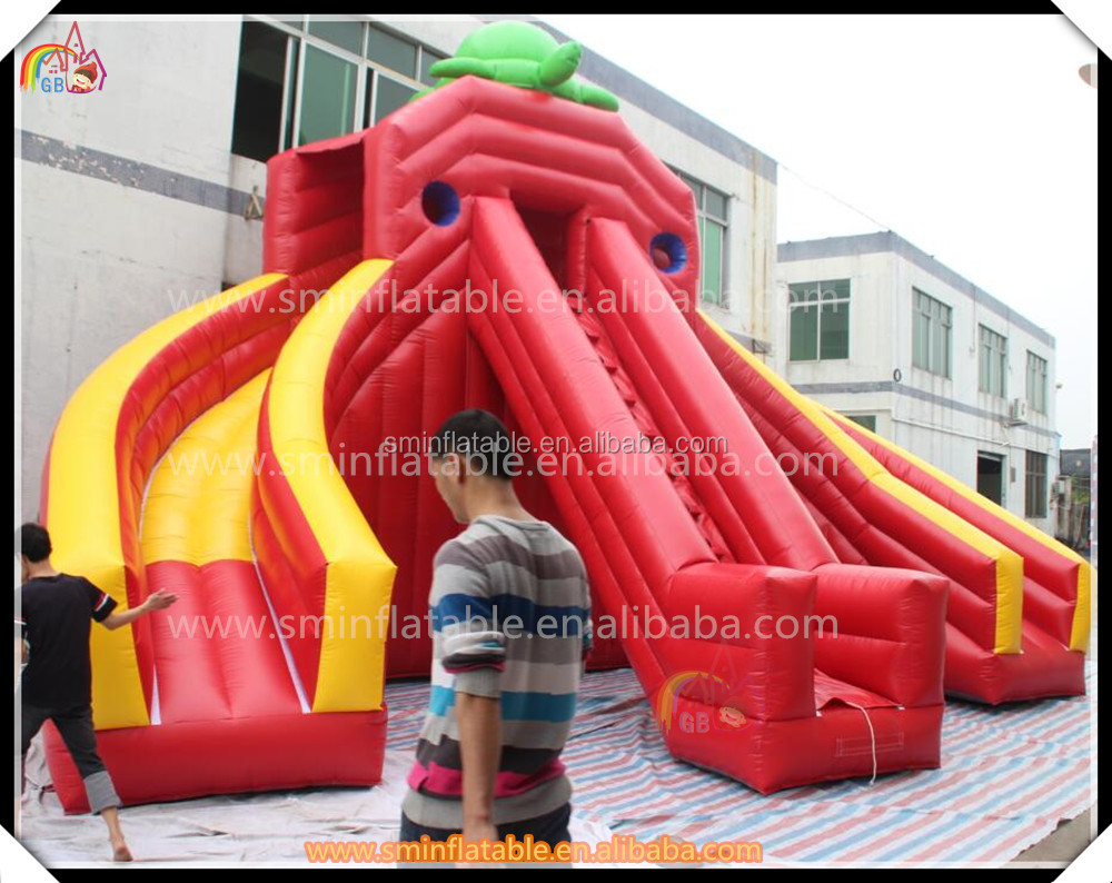 Best price inflatable water slide, inflatable three lane slide with turtle on the top for sale