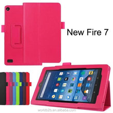 PU Leather Folding Folio Case with Built in Stand For Fire 7 2017 Release