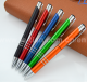 Cheap metal clip pen Custom logo mechanical push Plastic ball pens with highlighter