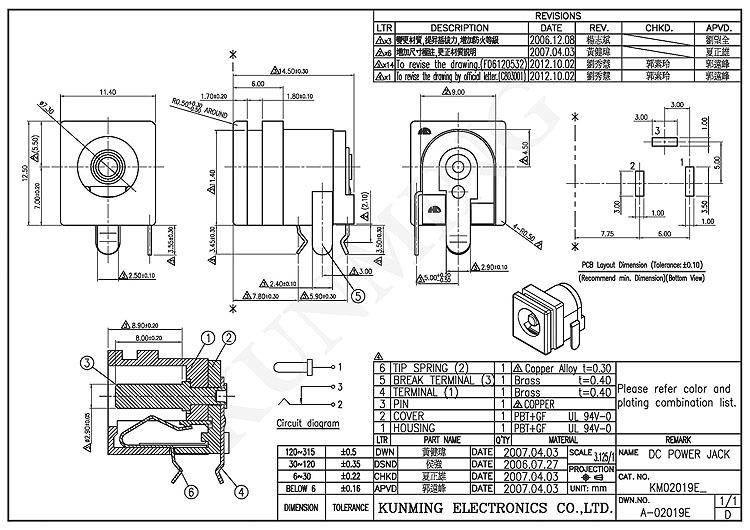 dc jack barrel connector power inlet connector socket km02019 horizontal dip ul