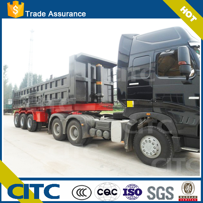 Tri-axles 60 tons rear dump tipper truck trailer transport sand and <strong>coal</strong>