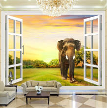 High quality 3D vivid animal wall art photo wallpaper mural for TV background