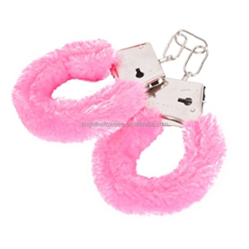STAG NIGHT RED FURRY METAL CHROME SILVER LOVE HANDCUFFS FANCY DRESS PARTY HEN
