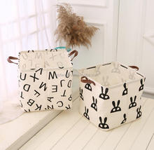 Eco-friendly Floding Storage Basket Fabric Printed Storage Bag for Clothing