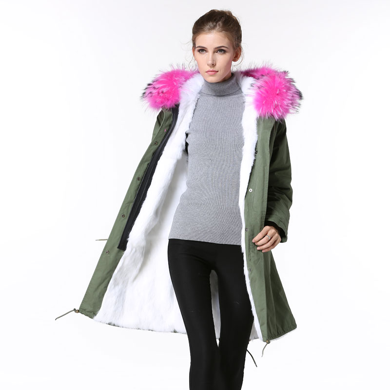 2016 Long Mility parka for ladies winter wear pink raccoon fur trim hoodies for ladies and mens christmas wear