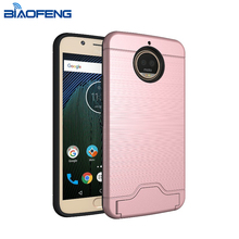2017 new arrivals dual layer brushed hybrid cellphone cover case for moto g5s plus with card slot and kickstand