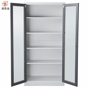 Steel Glass Sliding Door Powder Coated Office Cupboard Storage
