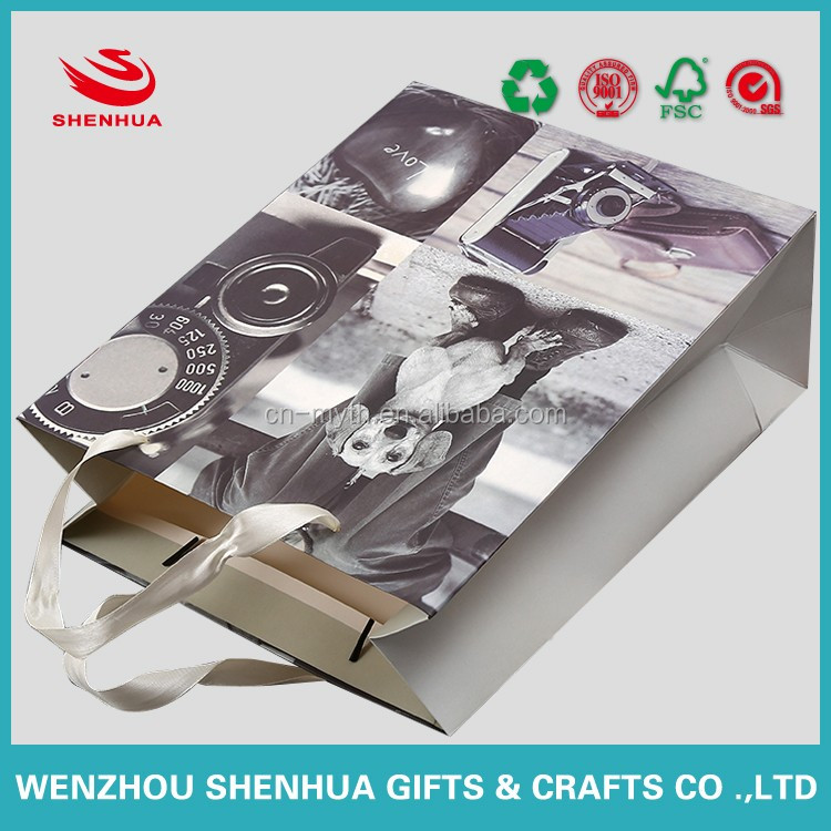 beautiful and high quality white board paper bag with silk ribbon