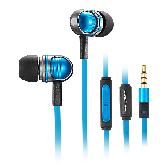 Wallytech W801 High Performance In-Ear Headphones with Built-in Mic Tangle-Free Wired Headset Earbuds with 3-Button Volume