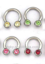Fashion Stainless Steel Piercing Circular Barbells with gem