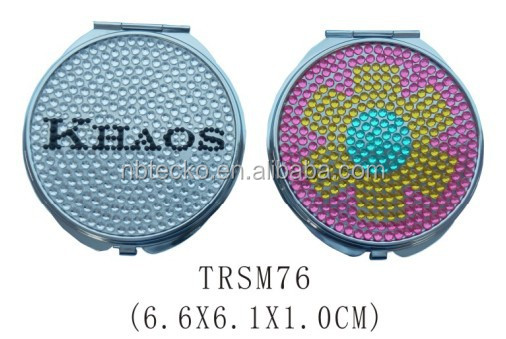 Round shape bling compact mirror rhinestone metal pocket mirror
