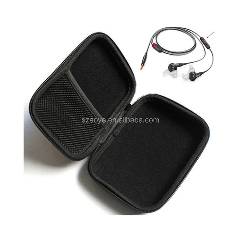 Black Color Rectangle Shaped Hard Earphone Headset EVA Case for MP3/MP4 Bluetooth Earphone Earbud with Mesh Pocket