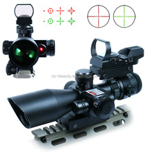 2.5-10X40 Hunting Tactical Riflescope w/ Red Laser & Holographic Green / Red Dot Sight Airsoft