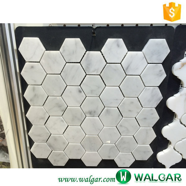 decorating wall tile white hexagon marble mosaic