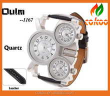 Oulm Men Army Watch with Double Movt Numbers and Strips Hours Marks Leather Band Quartz men sports Watch Military watches
