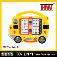 38cm yellow toy bus speak language page turning kids intelligent learning toy machine
