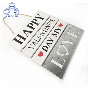 Happy Valentine's Day wood decorative wall hanging plaque with saying
