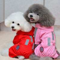 Pink and red color pet clothes wholesale fashion dog raincoat