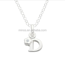 Wedding Gold Necklace Designs, Initial D Children's Pendant, Flower With Cz Center