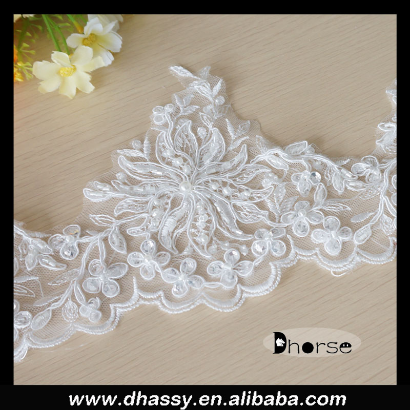 China supply Dhorse DHBL1521 pearl embroidery battenburg lace trim with beads