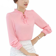 Women Shirts Long Sleeve Stand Collar Bow Blouses Elegant Ladies Chiffon Blouse Tops Fashion Office Work Wear