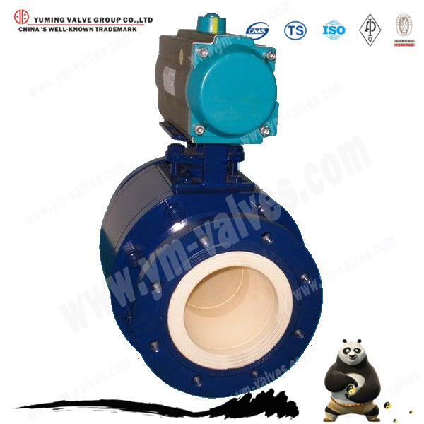 Pneumatic actuator industrial Flange type Ceramic Steam floating Ball Valve