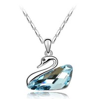 Free Shipping Animal Shape Swarovski Jewelry of Crystal Swan Necklace