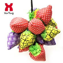 Recycled fruit packing reusable reinforced handle folding shopping bag