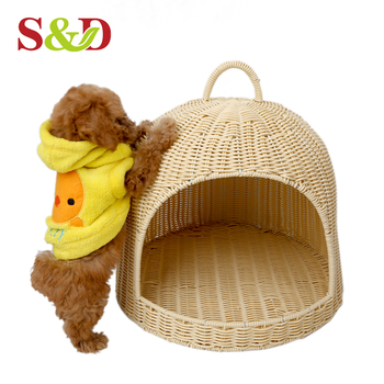 S&D Pet Accessories handmade lovely sofa shaped rattan dog bed pet bed