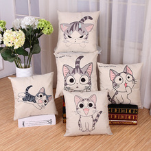 Giraffe Print and the Cat Cushion Sofa Animal Cotton linen Large Pattern Almofadas Cushion Cover And Pillows case