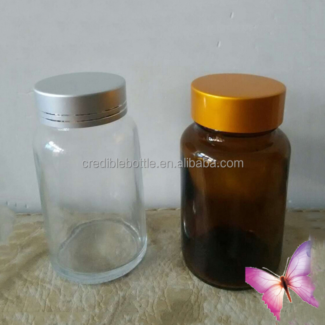 250ml amber glass pharmaceutical bottle for capsules with gold cap