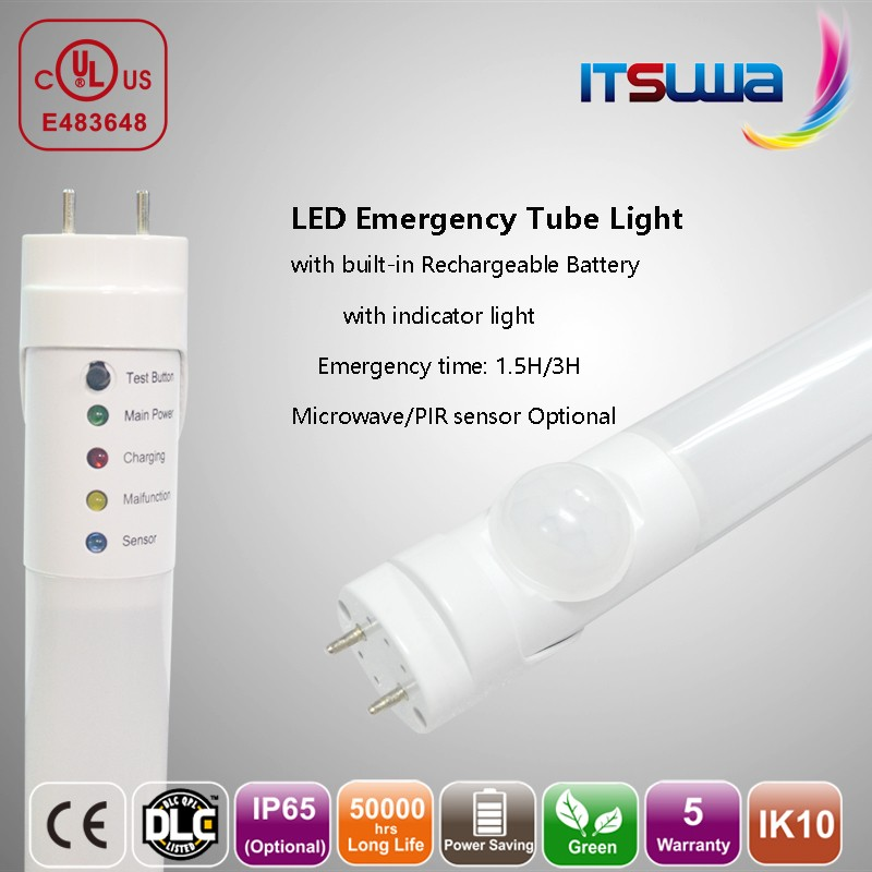 clear cover glass tube 120lm/w rechargeable led emergency light t8 external driver motion sensor