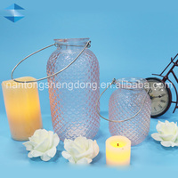 home decor manufacturer mini hanging glass candle lanterns with wire hanger