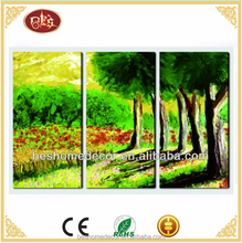cheap 3 panels wall art canvas prints/tree landscape oil painting/custom canvas print