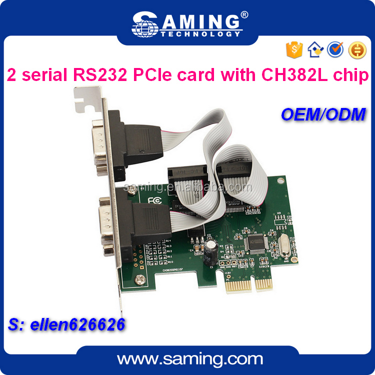 Factory wholesale dual Serial port PCIe riser card/expansion card with CH382 chipset