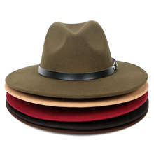 Wholesale New 2019 Red black Elegant Vintage Wide Brim Faux Wool Felt Belt Fedora Hats For Women Men