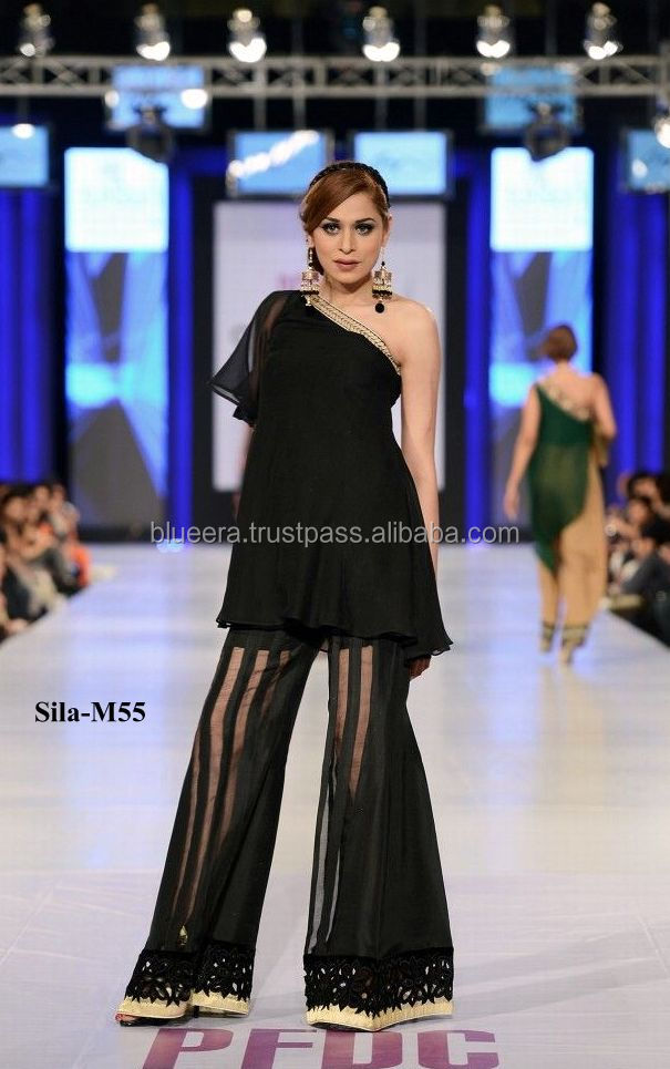 Black chiffon short shirt with bell bottom trouser spring party wear BE-M55