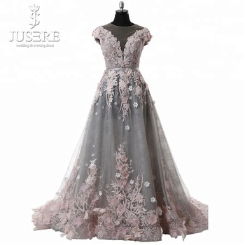 Elegant 3D flowers Handmade Pink Grey Suzhou Prom Dress Supplier