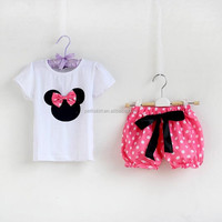 2018 fashion simple short sleeve hot pink kids outfits,baby clothes summer