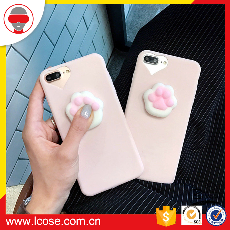 Factory supply Lovely 3D squishy squeeze toy squeeze squishy lazy cat silicone phone case For Iphone 7