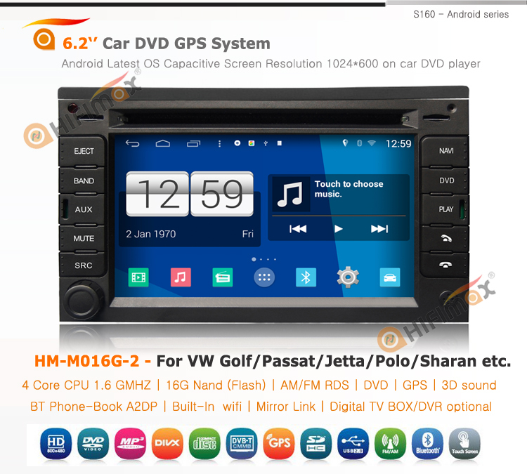 Hifimax S160 series VW Sharan android car dvd/vw Jetta car multimedia android 4.4.4 HD 1024*600 with 4 Core CPU