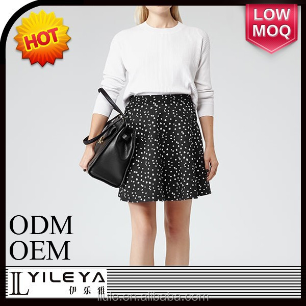 fashion high end white dot pattern printed girls mini skirt pictures