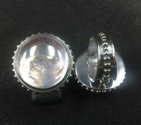 RFMN0053 - Sterling Silver Ring with Ice Clear Glass Gem Marbles